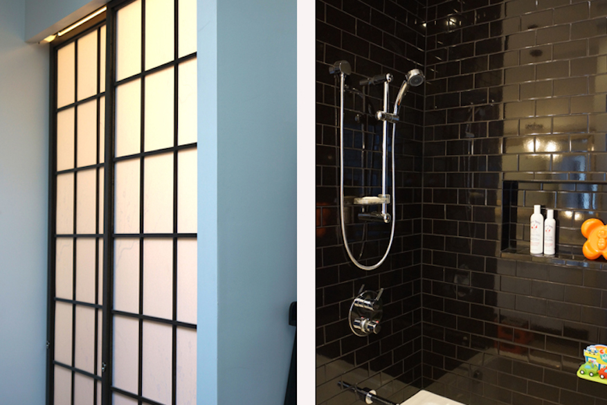 Photo composite, with one side showing a shower stall with dark tile and interior shelf, and the other showing a shoji screen door.