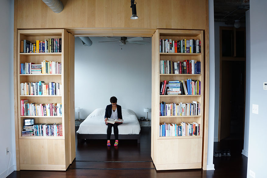 vic loft renovation built in book shelves