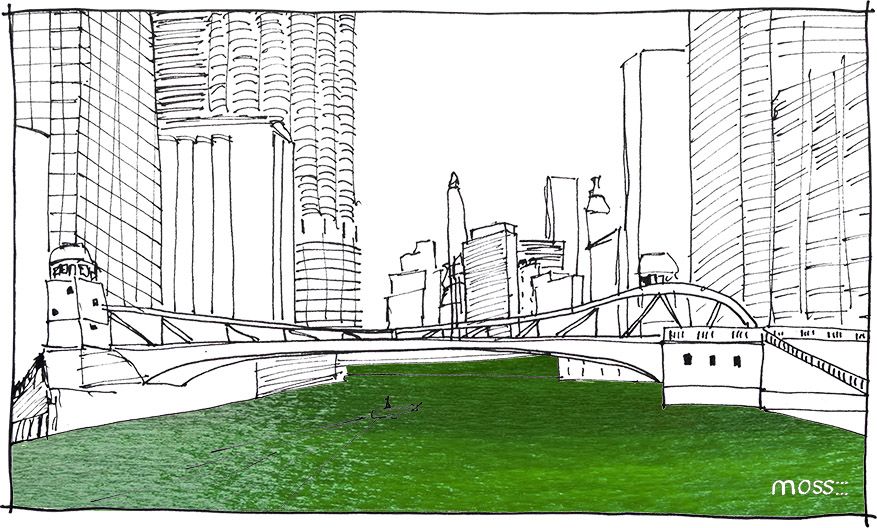 chicago river green, river as public space