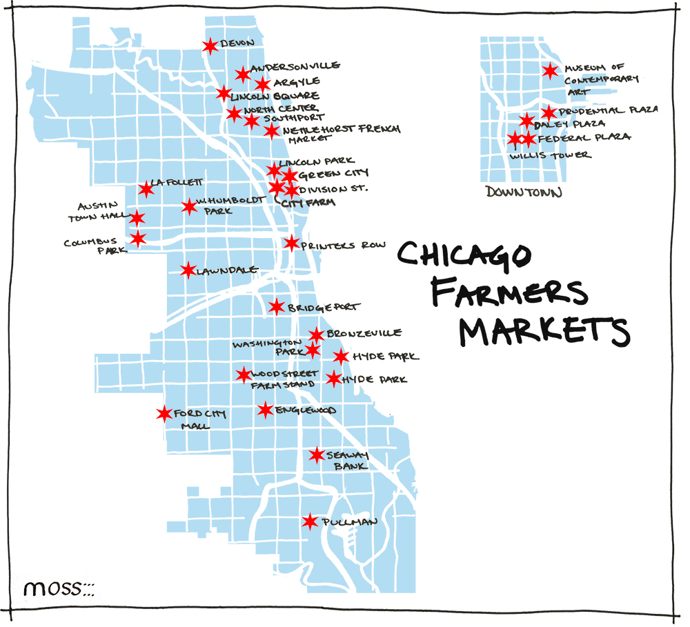 chicago farmers market locations map 2014