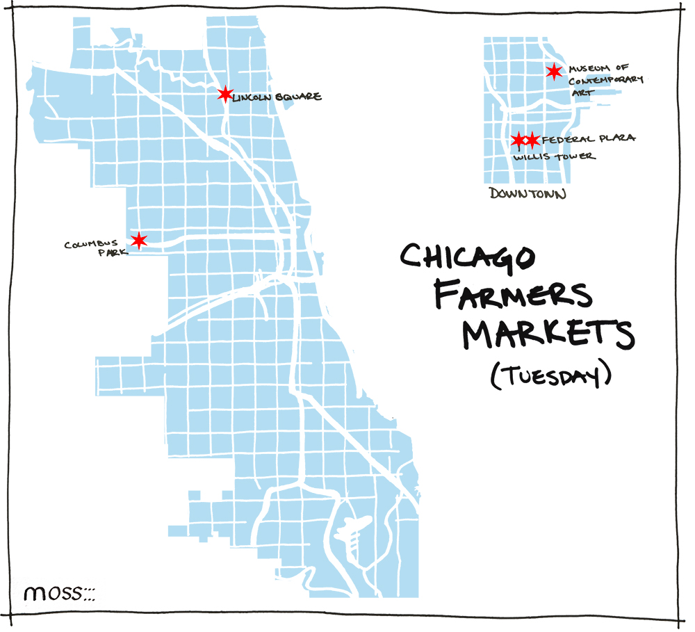 Chicago Farmers Markets For Nearly Every Day Of The Week - Chicago kayak map