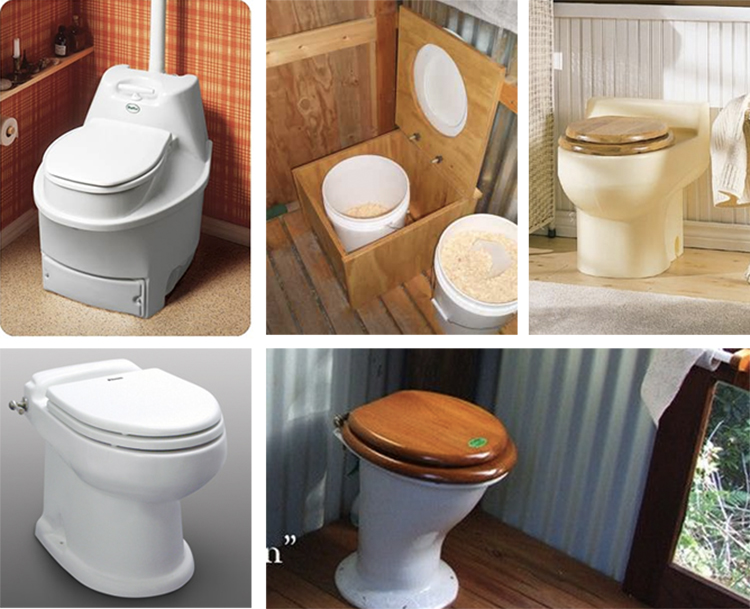 composting toilet collage