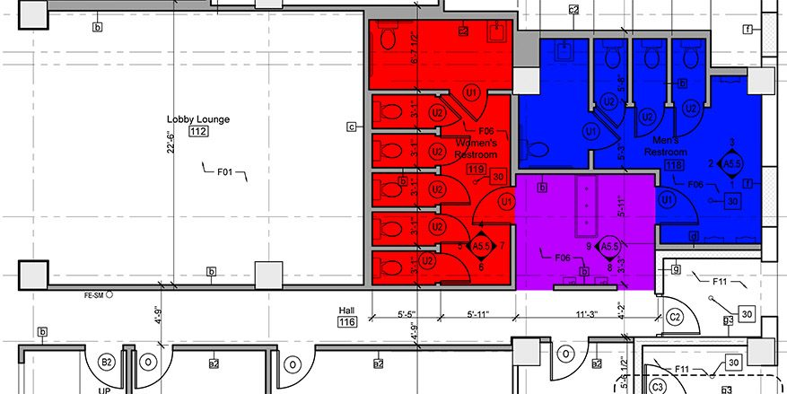 The space between gender neutral and accessible restrooms for Shared bathroom layout