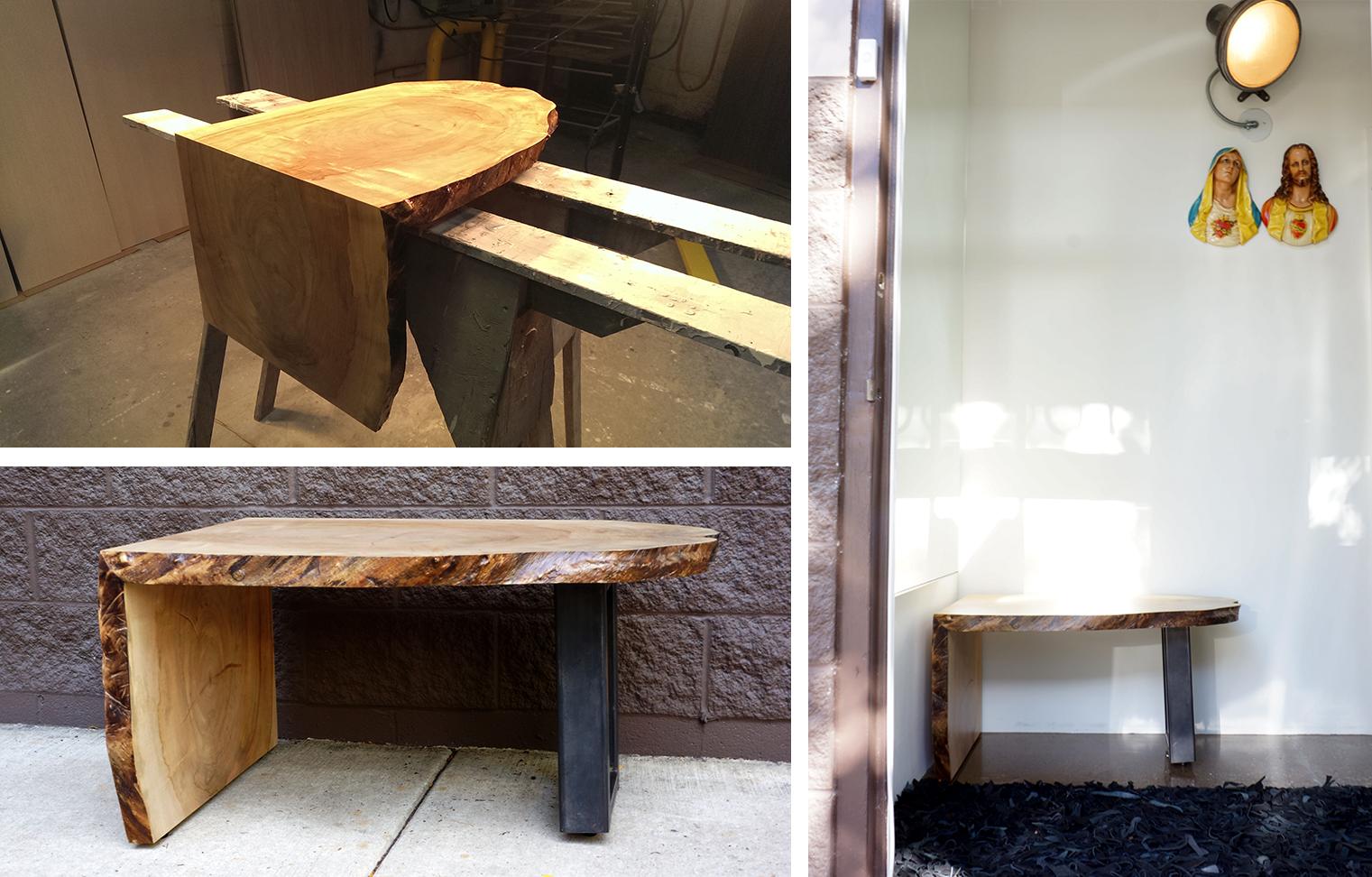 custom slab wood bench