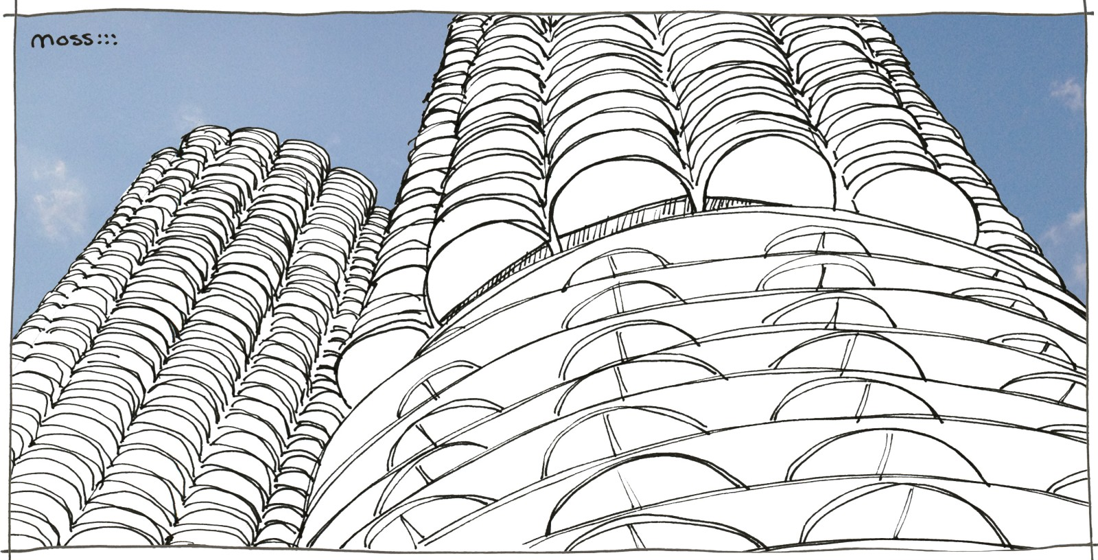 marina city tower sketch