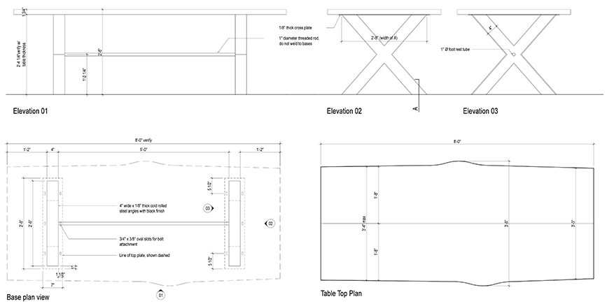 live edge table design drawings
