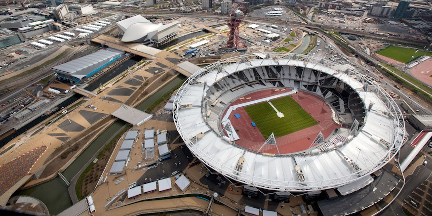 Aerial view of the Olympic Park showing the Olympic Stadium the Aquatics Centre and Water Polo Arena to the left. Picture taken on 16 April 2012.