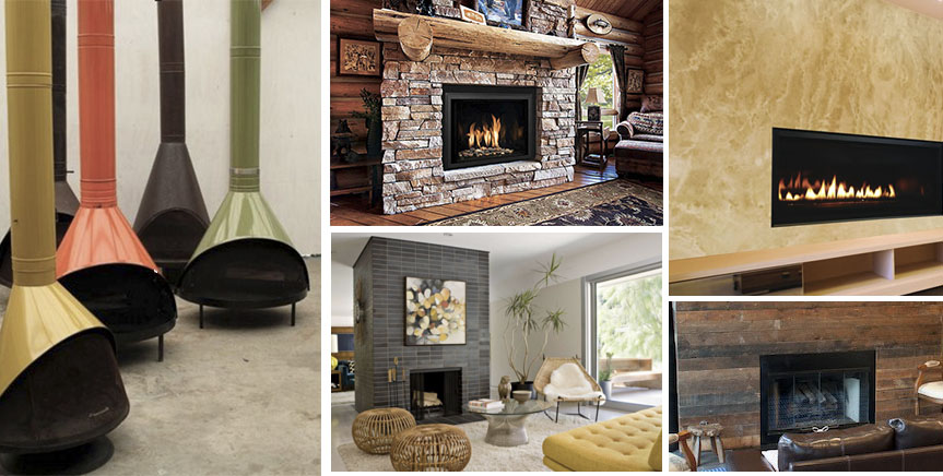 Collage Of Fireplaces With Different Design Influences Midcentury Modern Rustic Farmhouse