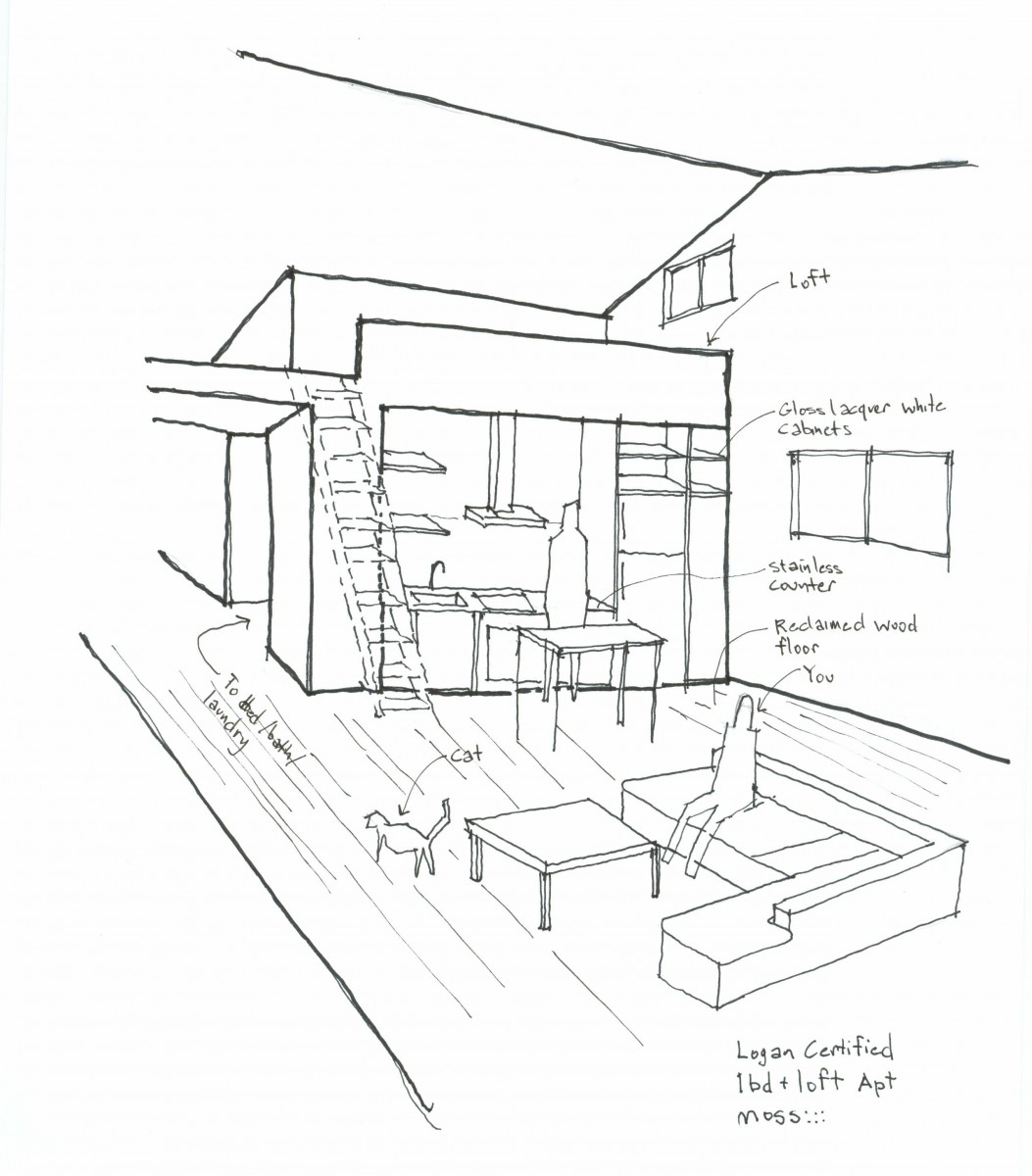 Sketch of Logan Square Loft Apartment by moss Design