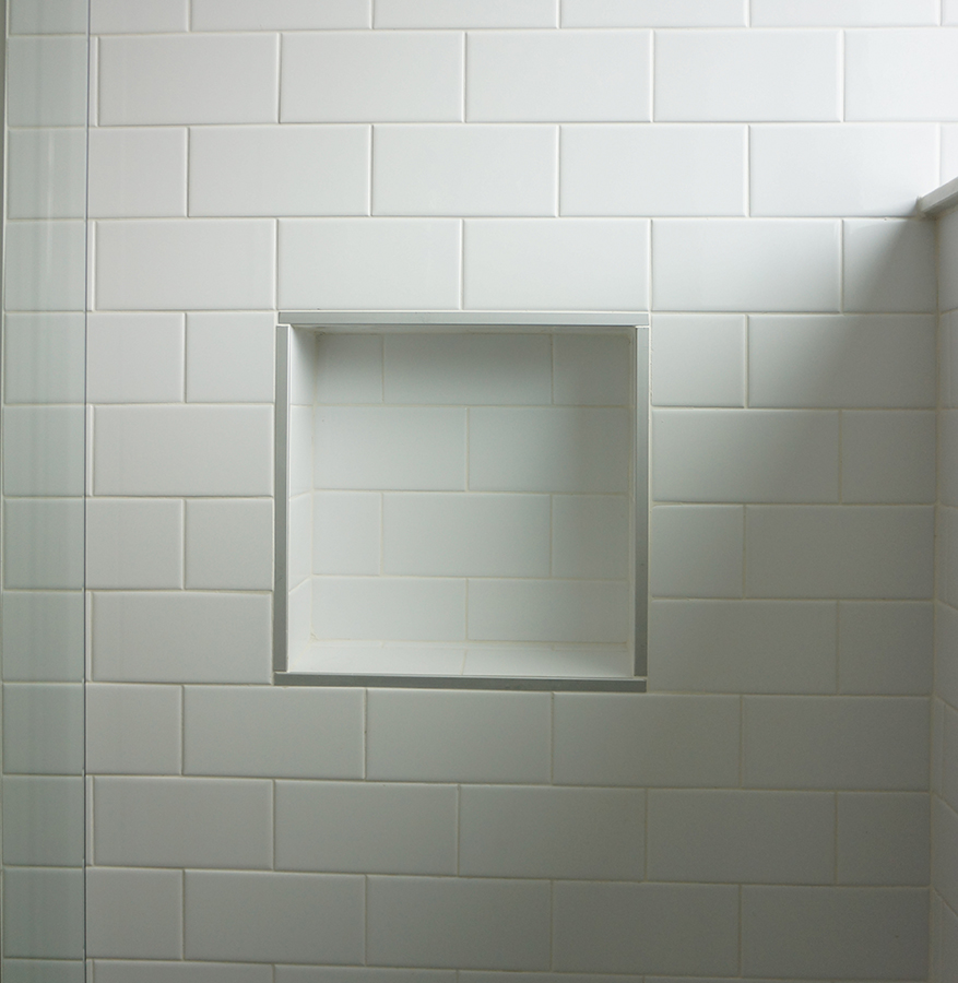 Most bathroom renovations could benefit from a recessed shower shelf